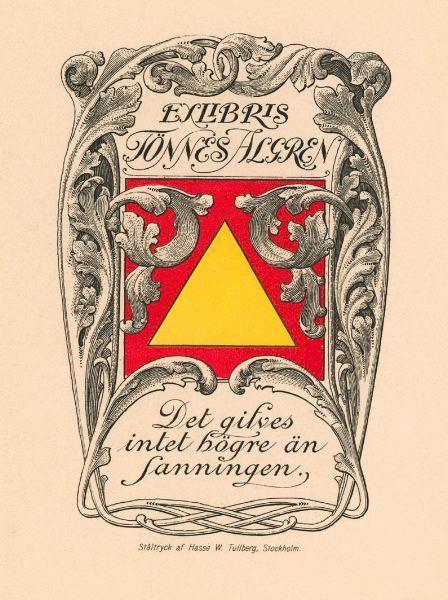 Bookplate Tönnes Algren, Sweden