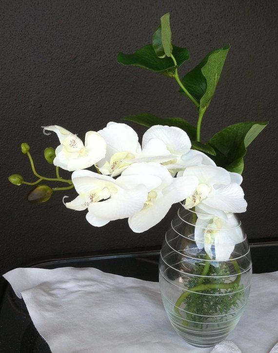 white orchids silk flower arrangement ikebana by lavoga on etsy rh pinterest com