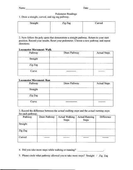 Pedometer Activity Sheet  Physical Education