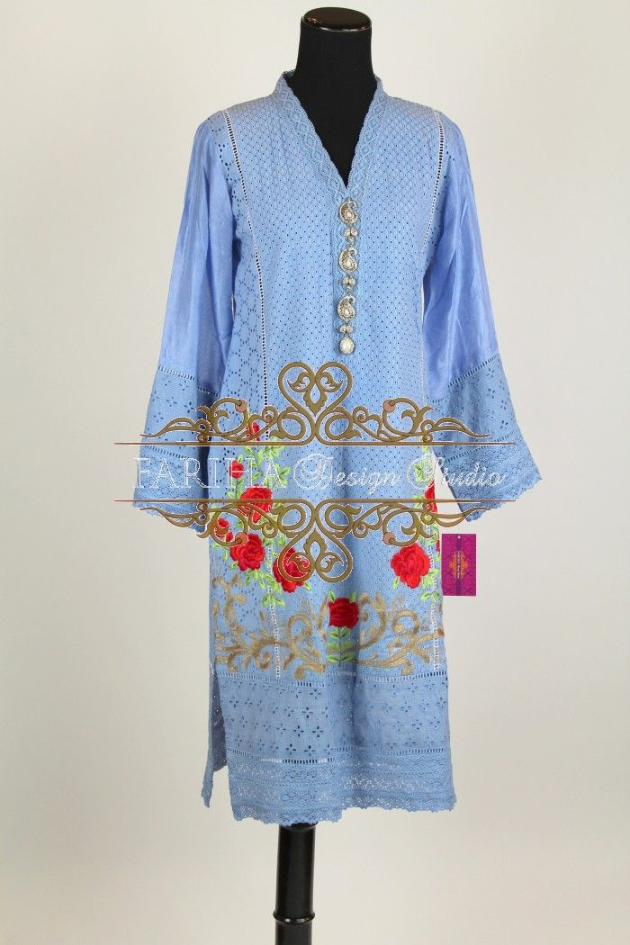 SKY BLUE CHICKEN WITH RED FLORAL EMBROIDERY