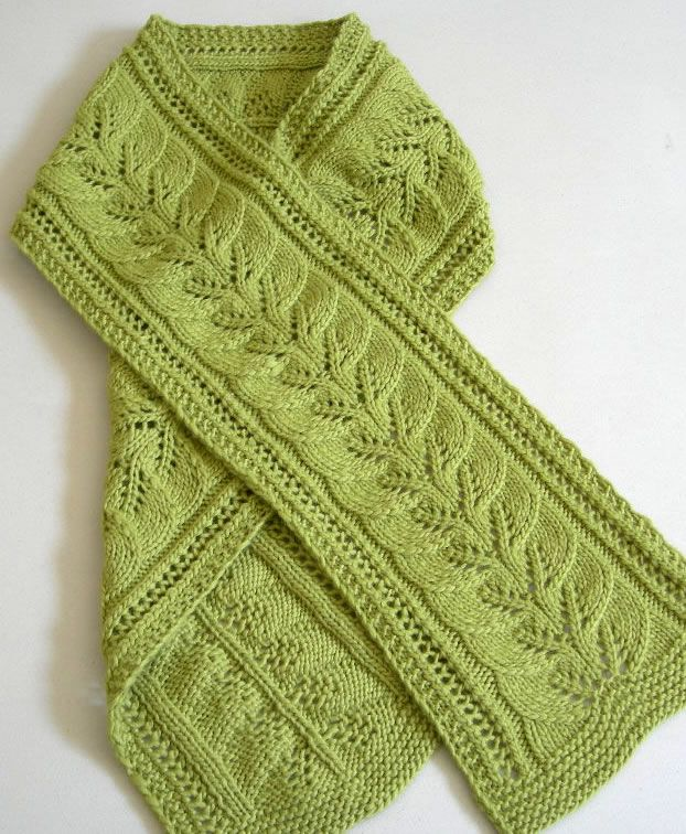 Brooke's Column of Leaves Knitted Scarf Pattern