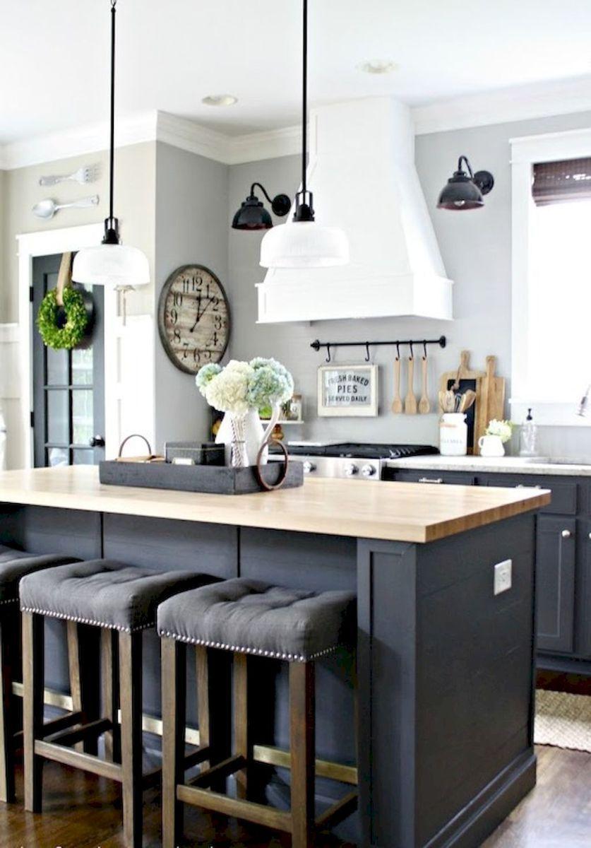 01 Incredible Farmhouse Gray Kitchen Cabinet Design