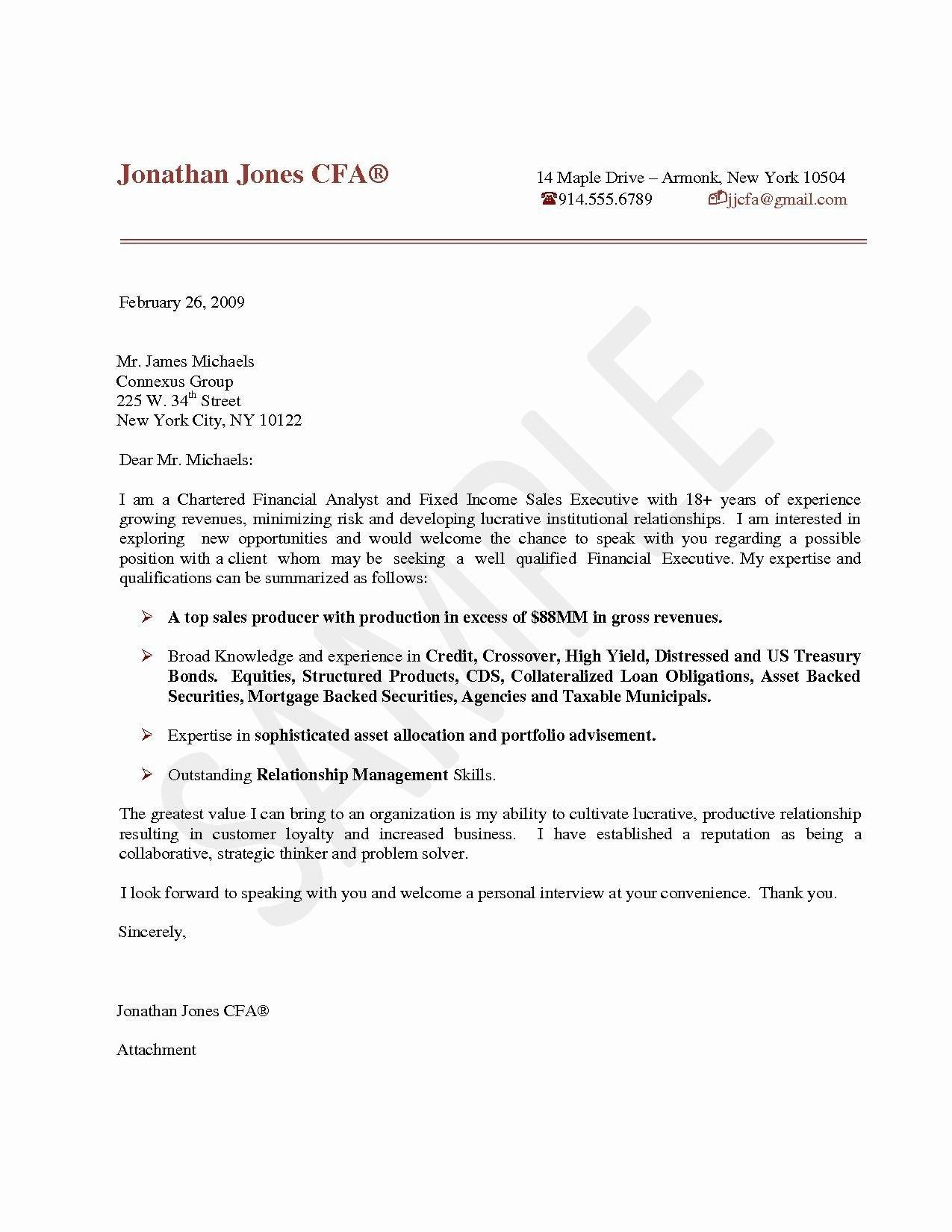 Financial Analyst Cover Letter Chartered Financial Analyst