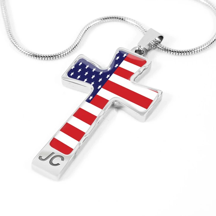 Usa Flag Cross Pendant With Luxury Necklace 4th Of July Cross Pendant Shineon Com Luxury Necklace Patriotic Red White Blue Cross Pendant