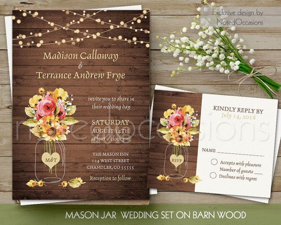 Digital Wedding Invitation Ideas: Rustic Wedding Invitation Printable Mason Jar Wedding