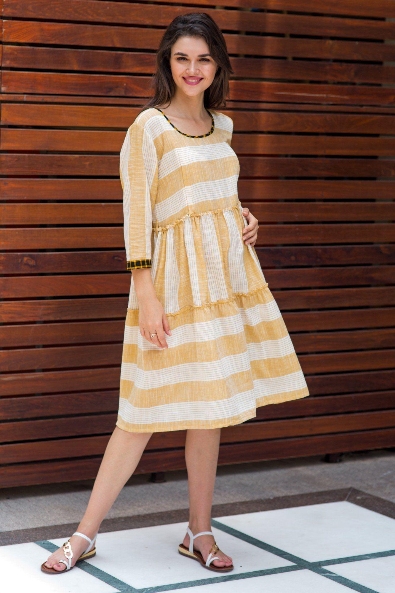 8eb173f1 Cotton Tan Yellow Stripe Maternity & Nursing Dress | .a p p a r e l ...