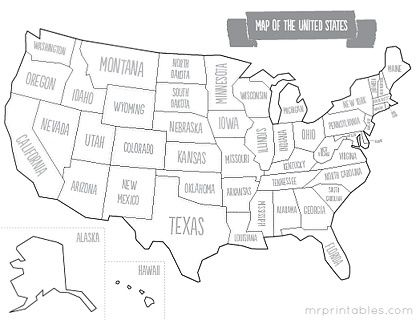 Printable Us Map For Kids | Road Trip! | Pinterest | Educacion ...