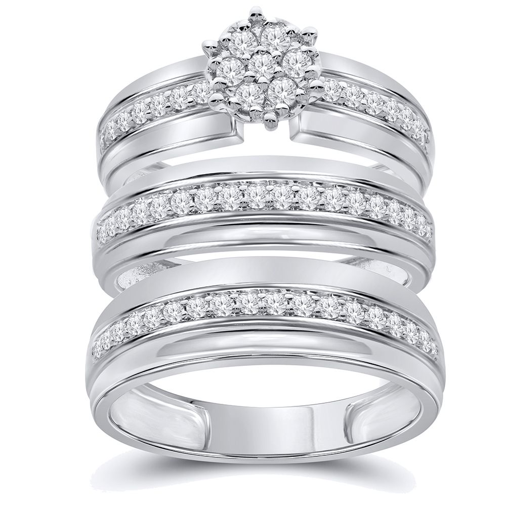 5/8 cttw Simulated Diamond Sterling Silver Wedding Ring