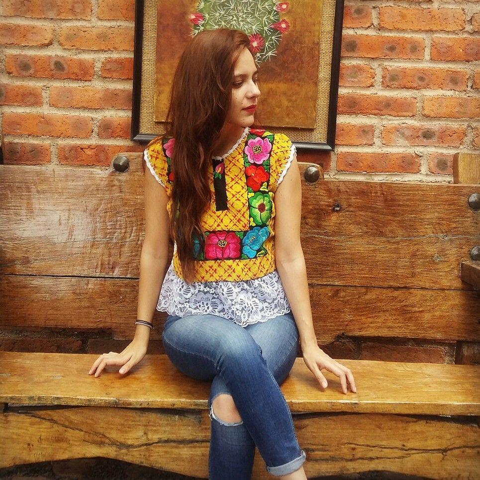 Blusa Oaxaqueña Textiles Mexicanos Bordados A Mano