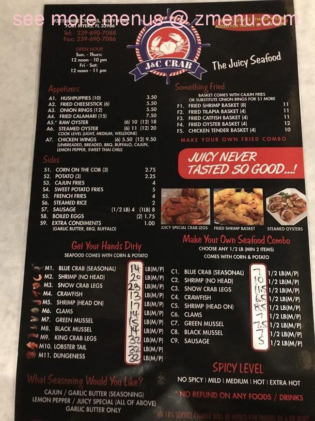 Online Menu Of J C Crab Restaurant Fort Myers Florida 33966 Zmenu Crab Restaurant Crab Menu