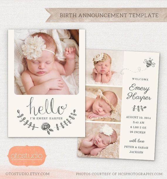 Birth Announcement Template Pencil Bee CB X Card INSTANT - Baby arrival announcement