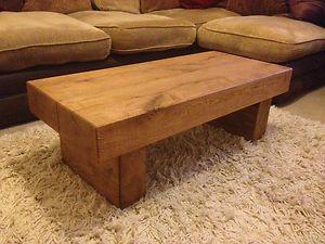 Oak Beam Coffee Side Table Solid Handmade Canadian Oak Rustic