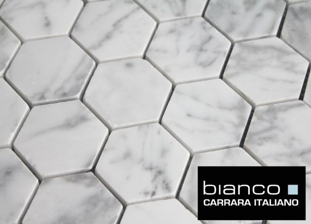 10 87sf Carrara Bianco 2 Hexagon Italian Marble Mosaic From Thebuilderdepot Finishes