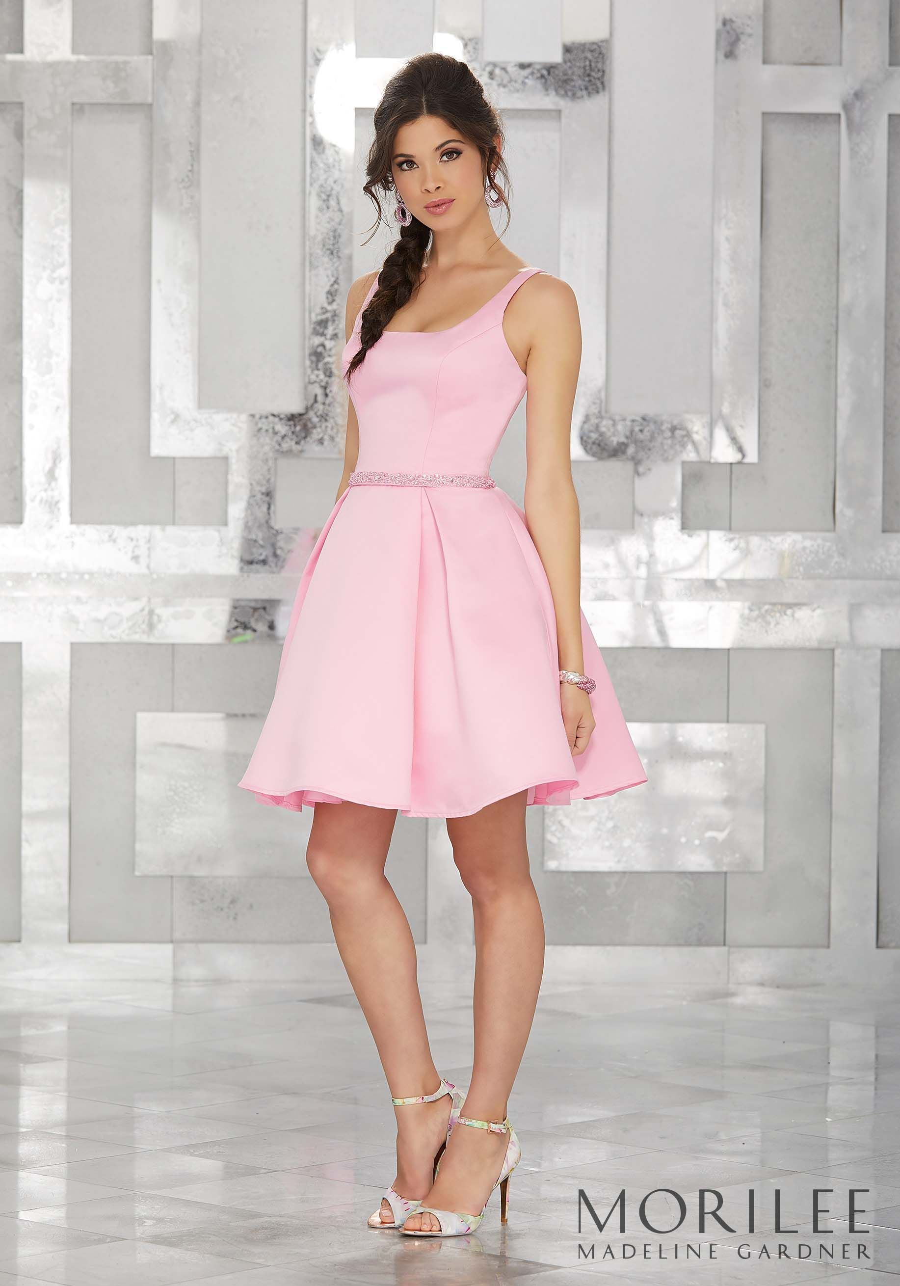 Pink Satin Party Dress with Scoop Neckline and Beaded Waistband ...