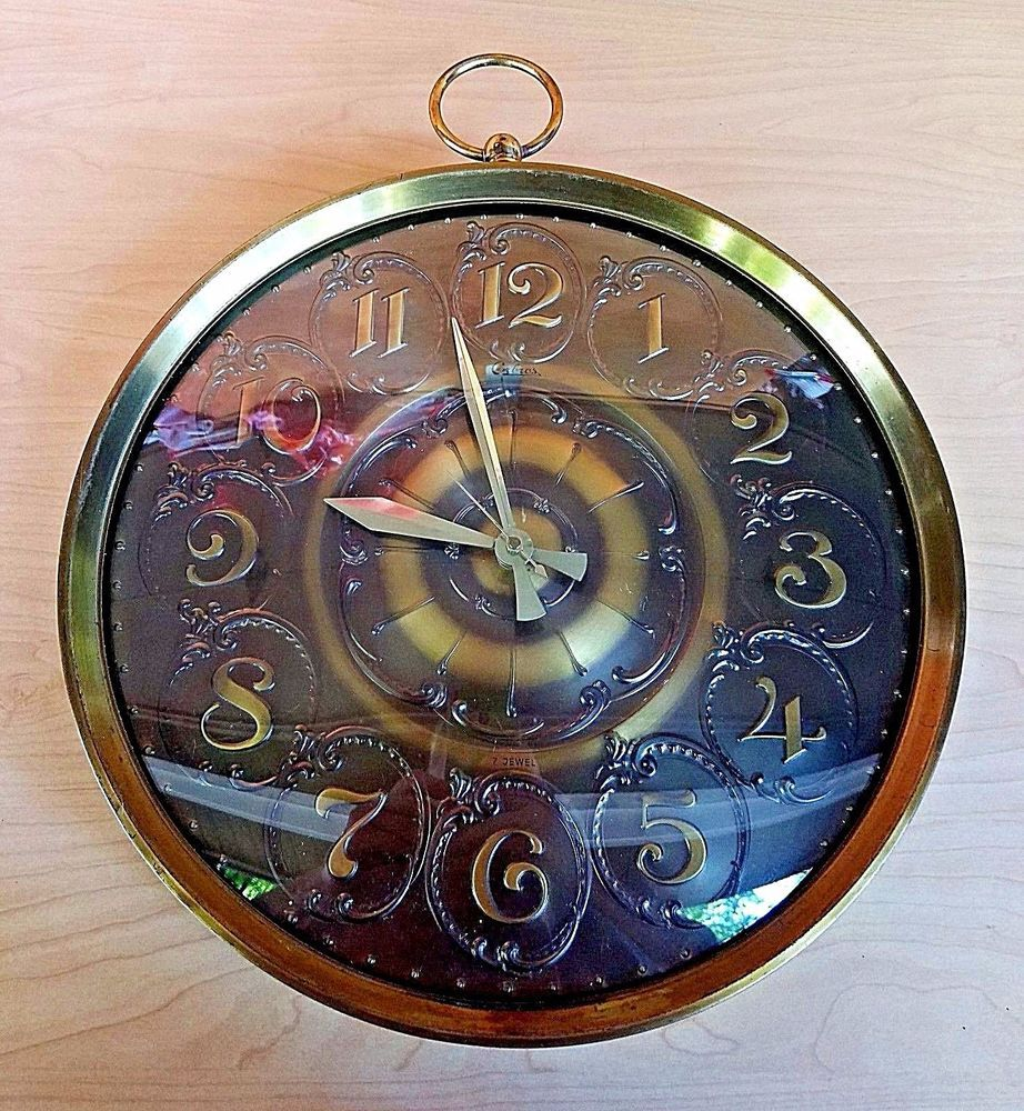 Vintage steampunk wall clock pocket watch style mid century brass vintage steampunk wall clock pocket watch style mid century brass retro schatzelexactaorbros amipublicfo Images