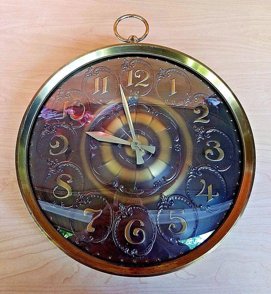 Vintage Steampunk Wall Clock Pocket Watch Style Mid Century Brass