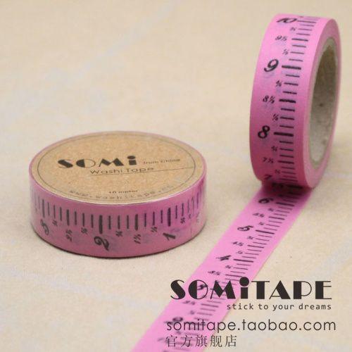 Korea stationery , printing tape diy , pink ruler handmade gift decoration paper tape(China (Mainland))