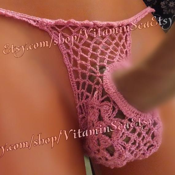 4228b3af6f68 Sexy men's g-string cock exposing lace egg pouch crochet mesh thong custom  handmade boyfriend gift e