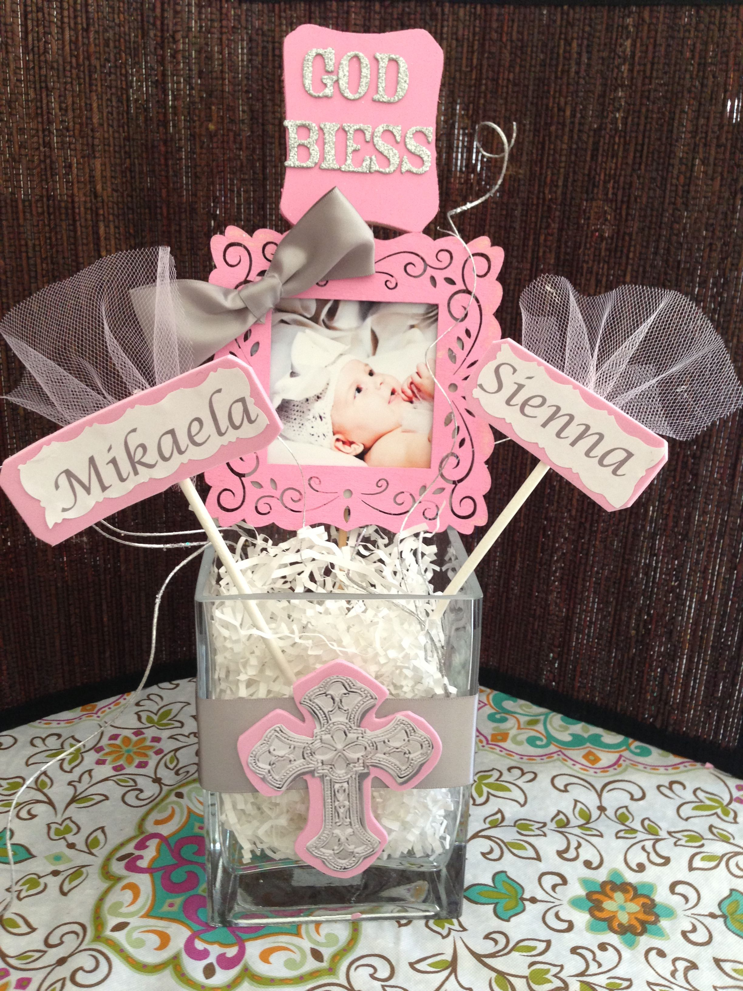 Diy so easy and very inexpensive baptism centerpiece pinterest easy baptism ideas and - Simple baptism centerpieces ...