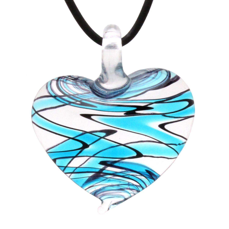Designer murano inspired glass sky blue zebra heart pendant