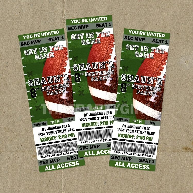 DIY Football Birthday Party Ticket Style Invitations   Digital U Print  Party Ticket Invitations