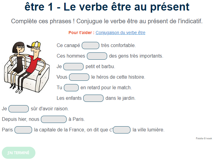 Exercice De Conjugaison Le Verbe Etre Au Present Verbe Etre Exercice Verbe Exercice Francais Ce2