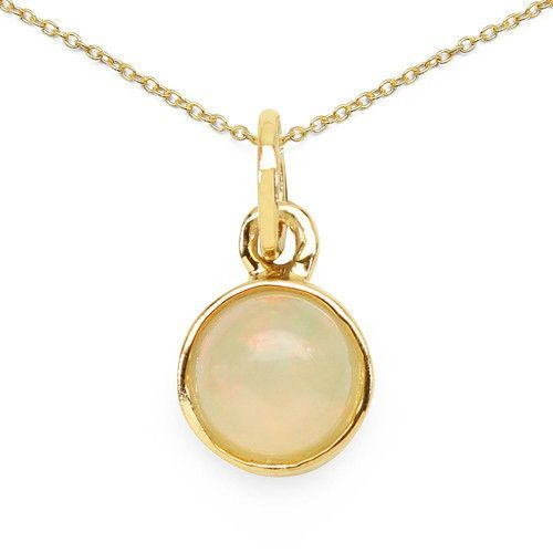 14K Yellow Gold Plated 0.65 Carat Genuine Ethiopian Opal .925 Sterling Silver Pendant