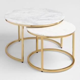 Marble Ayva Nesting Coffee Tables Set Of 2 Nesting Coffee Tables Coffee Table Setting Marble Coffee Table
