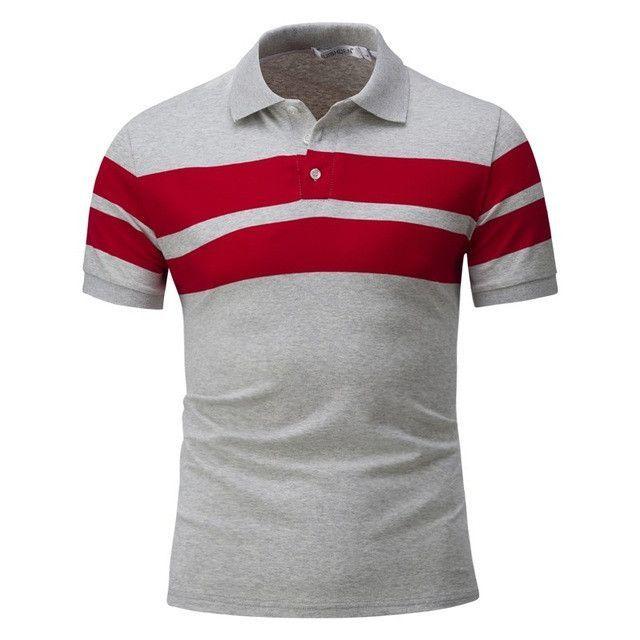 Fashion Men/'s Striped Casual T-Shirts Slim Fit Short Sleeve POLO Shirt Tops