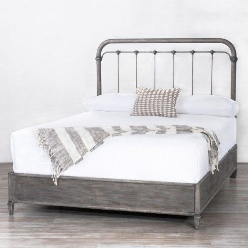 braden iron bed with surround by wesley allen shown in weathered grey wrought