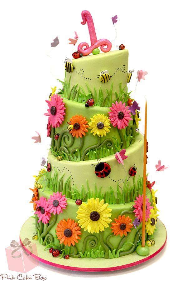 Garden Bug 1st Birthday Cake Birthday Cakes Garden Bugs