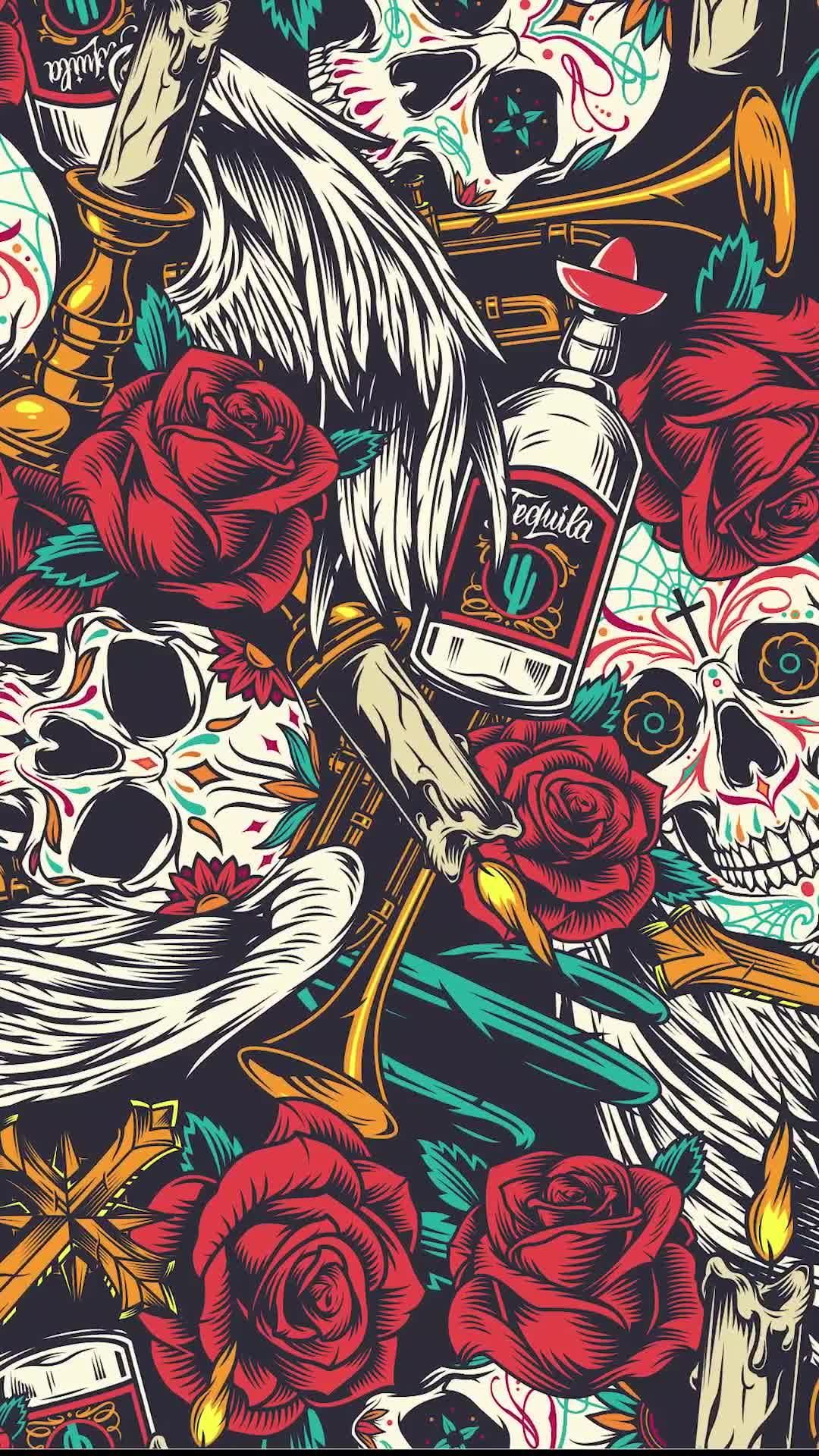 Seamless pattern with Skull, tequila, red roses and candles. Downloan on our website. #seamlesspattern #pattern #skull #dayofthedead