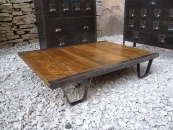 Table Basse Palette Sncf Chene 1940 Table Basse Table De Salon Table Basse Palette