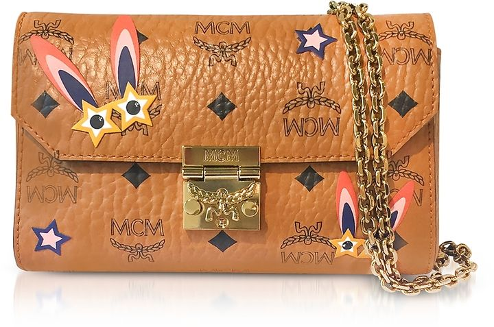 MCM Millie Star Eyed Bunny Visetos Cognac Small Flap