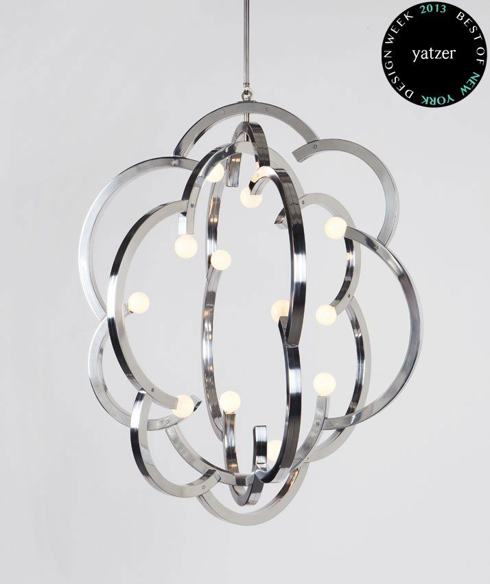 BlowbyLindsey Adelman. A cloud like form is created by inverting the staves of a traditional French wine barrel chandelier design.