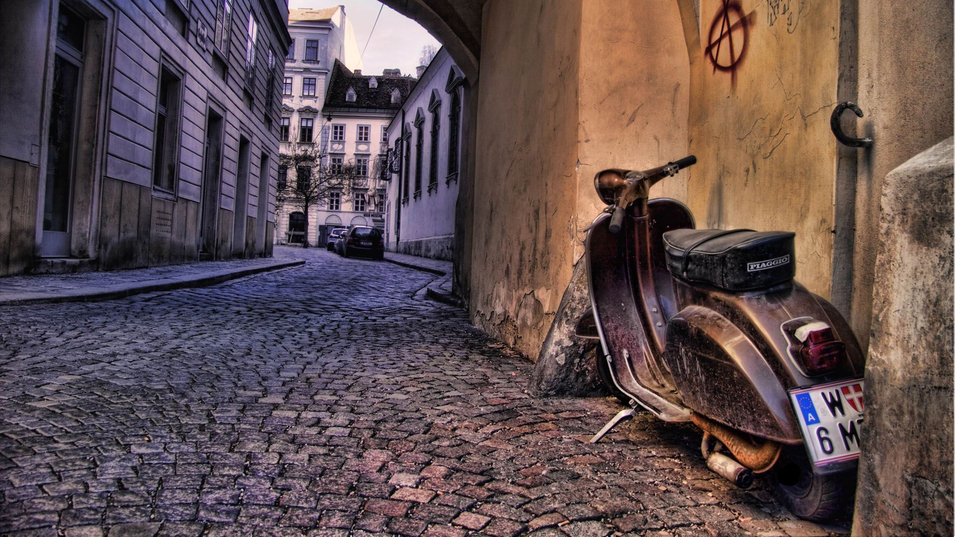Old Scooter Italy Hd Cartoon Hd Wallpaper 1920x1080 Px With