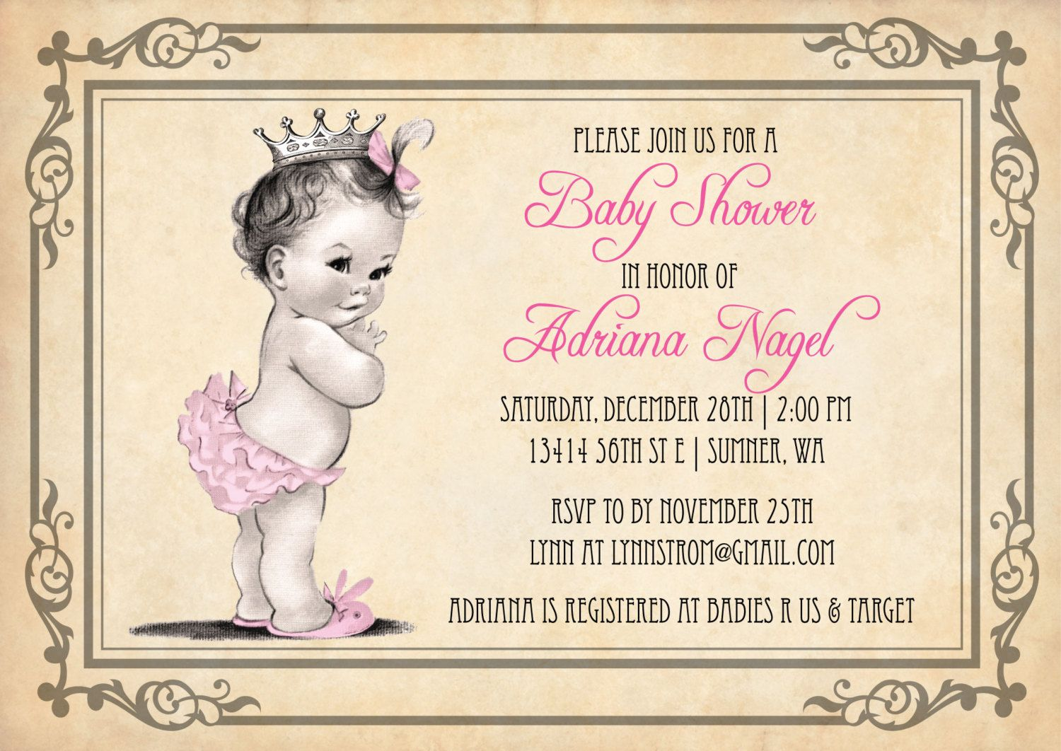 Princess+Girl+Baby+Shower+Invitation+++Vintage+by+AnnounceItFavors ...