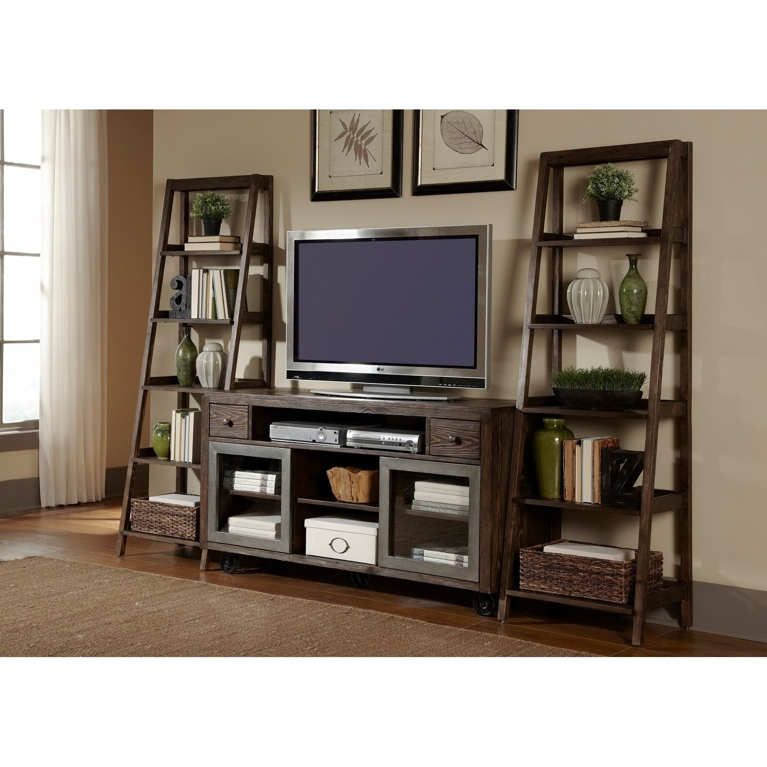 Liberty avignon rustic brown and metal leaning bookcase pier