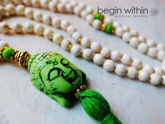 White Mala Beads w/ Green Howlite Buddha  by BeginWithinJewelry via Etsy #prayerbeads #malabeads #yoga
