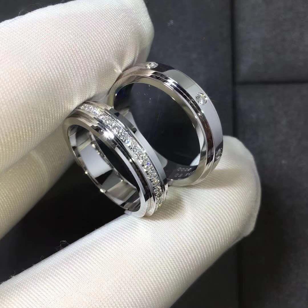 Set Of Piaget Possession Wedding Rings In 18k White Gold Men Diamond Ring Wedding Rings Rings