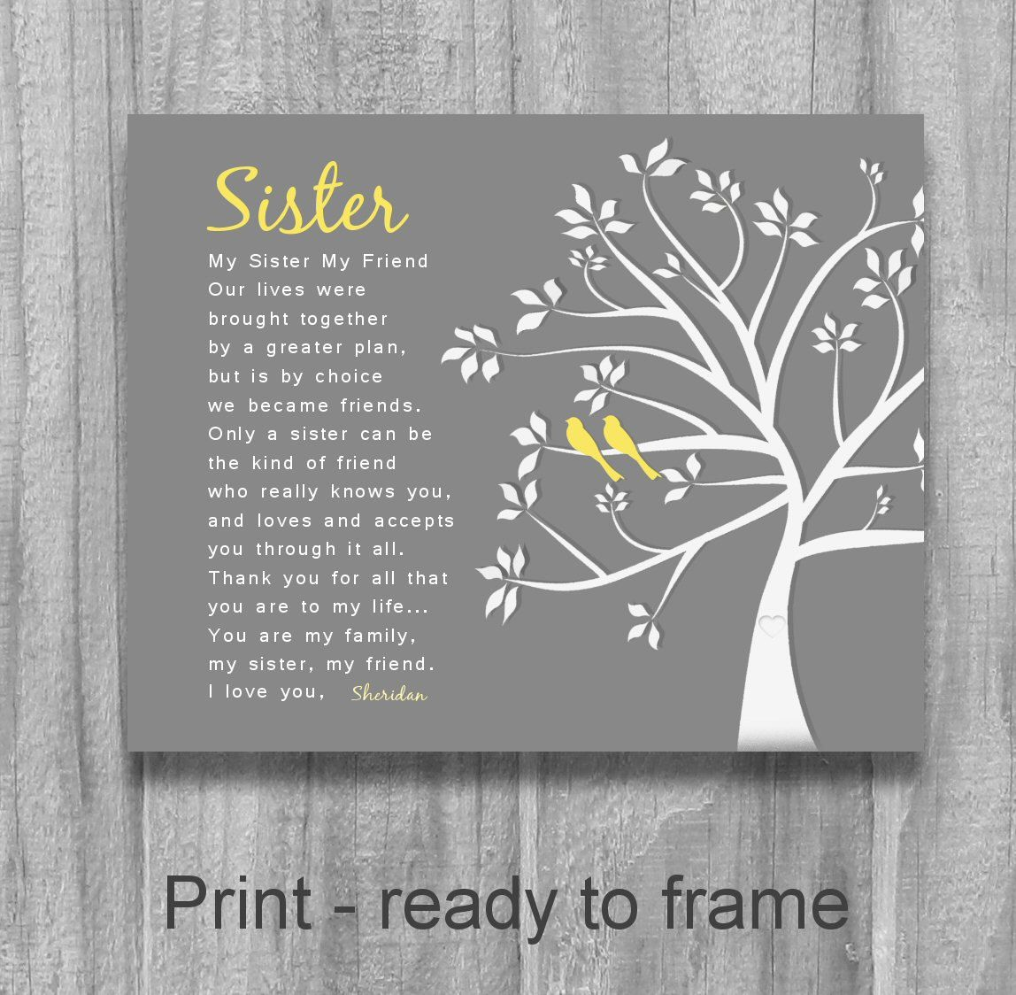 SISTER GIFT My Sister Friend Personalized By PrintsbyChristine Poems Birthday Wedding Speech