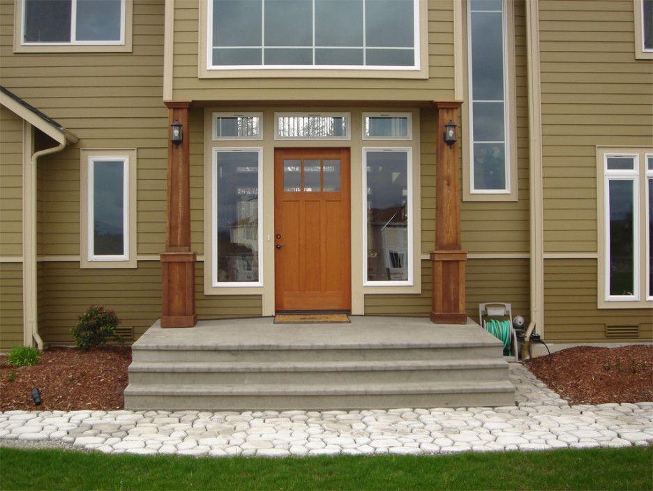 Front Porch Pillars Ideas Fair Image Of Front Porch Decoration Using Solid Light Oak Wood Front Porch Pillar In Front Porch Design Porch Columns Porch Design