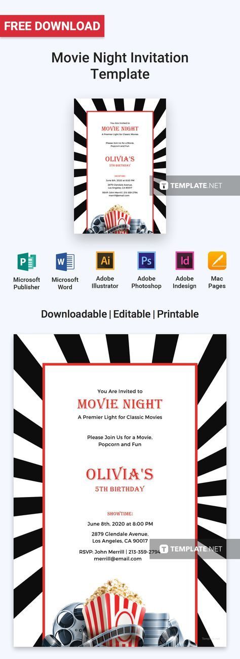 free movie night invitation pinterest movie night invitations