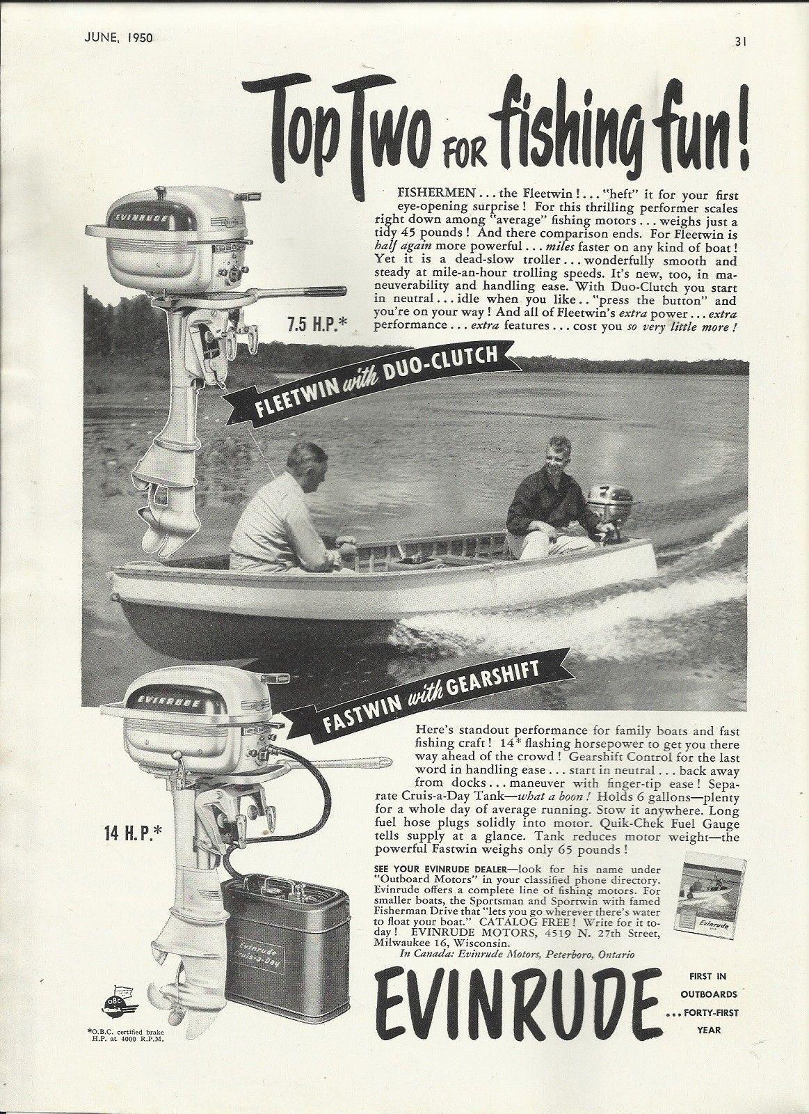 1950 Evinrude Motors Ad- The Fastwin 14 HP  & Fleetwin 7 5 HP