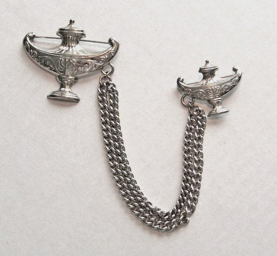 1940s Double Chain Pin / Ancient Lamps by AnotherTimeAntiques, $30.00