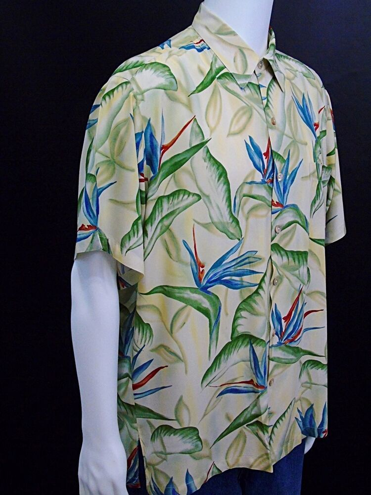 dd2b9cb5 Tori Richard Large Hawaiian Aloha Shirt Bird of Paradise Floral Tan Blue  Green #ToriRichard #ButtonFront