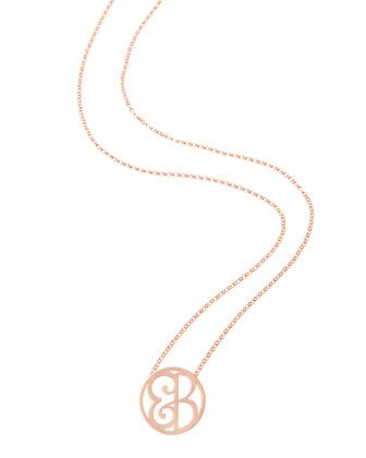 K Kane Mini 2-Initial Monogram Necklace, Yellow Gold, 18