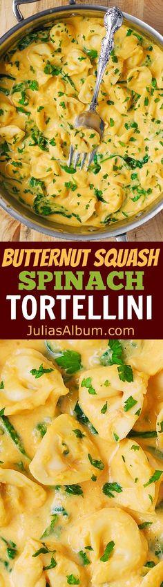 Thanksgiving Recipe: Creamy Butternut Squash and Spinach Tortellini.