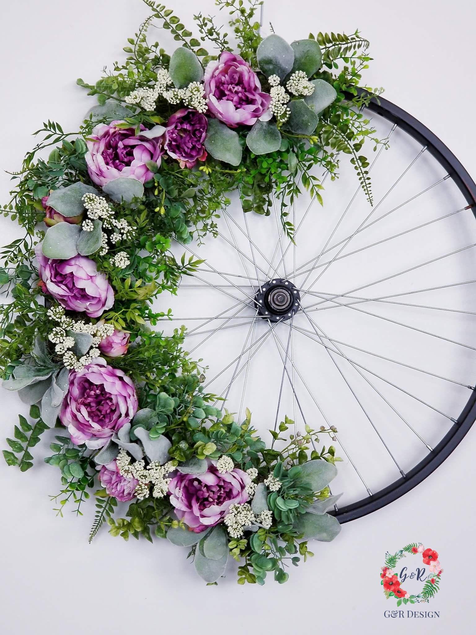 Bicycle Wheel Wreath Tutorial, Vintage Bicycle Wheel, Bike Rim Tutorial, Upcycled Wheel Wreath, DIY Bike Wheel, Bicycle Wheel Supply List