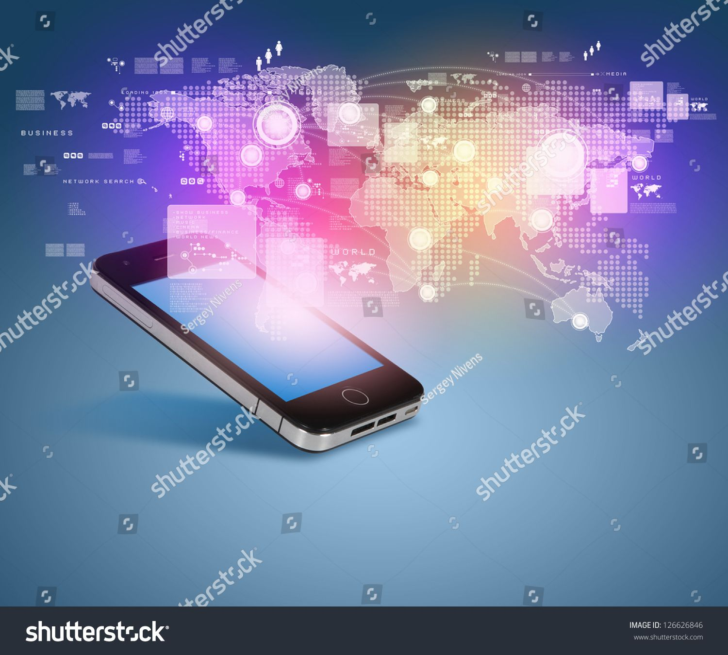Modern Communication Technology Illustration With Mobile Phone And High Tech Background Ad Sponsored Technology Il In 2020 Tech Background High Tech Mobile Phone